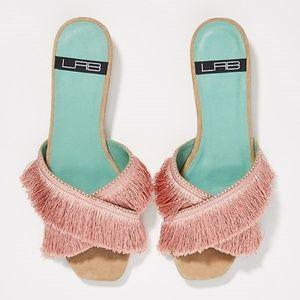 NWT Anthropologie Fringed Slide Sandals
